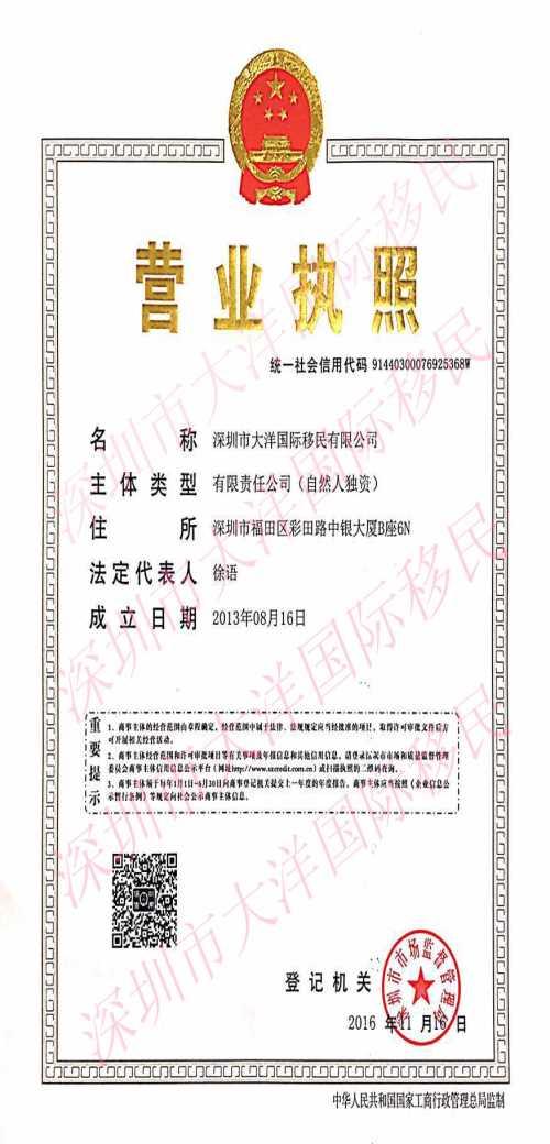 深圳市大洋国际移民有限公司_dlt