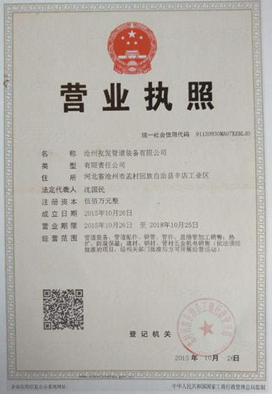 沧州友发管道装备有限责任公司