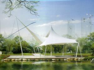 张拉膜景观棚安装_常州钢结构