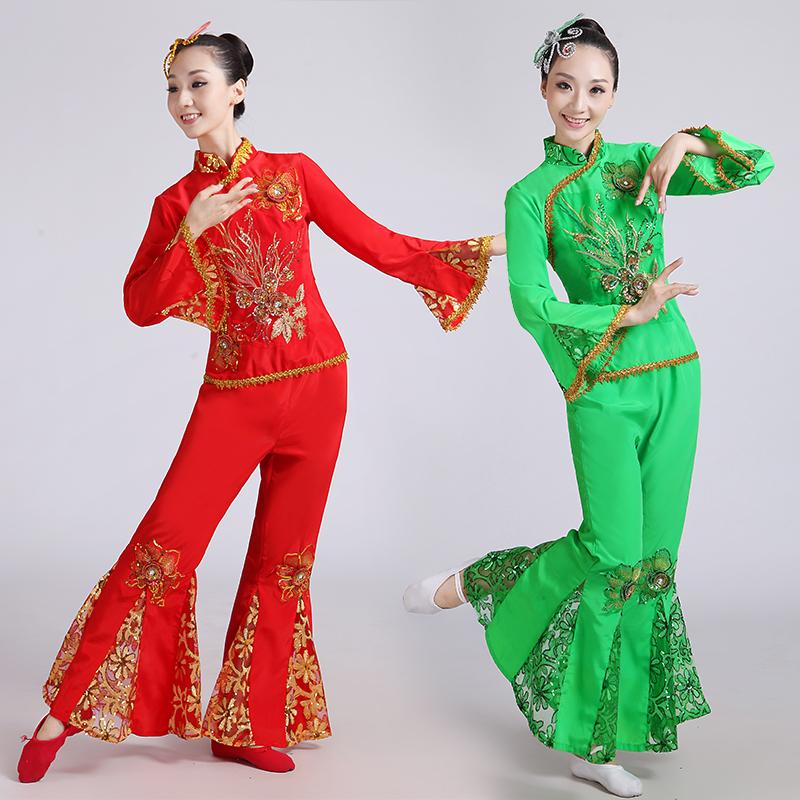 东北民族古典舞蹈秧歌舞服中老年扇子演出服女腰鼓_质量好服饰加工