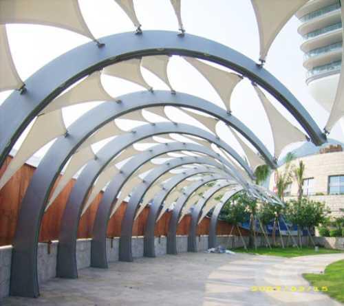膜结构遮阳雨棚_东阳建筑项目合作公司-浙江佳诚钢结构工程有限公司